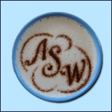 "Cappuccino Schaum mit Text ""ASW"""
